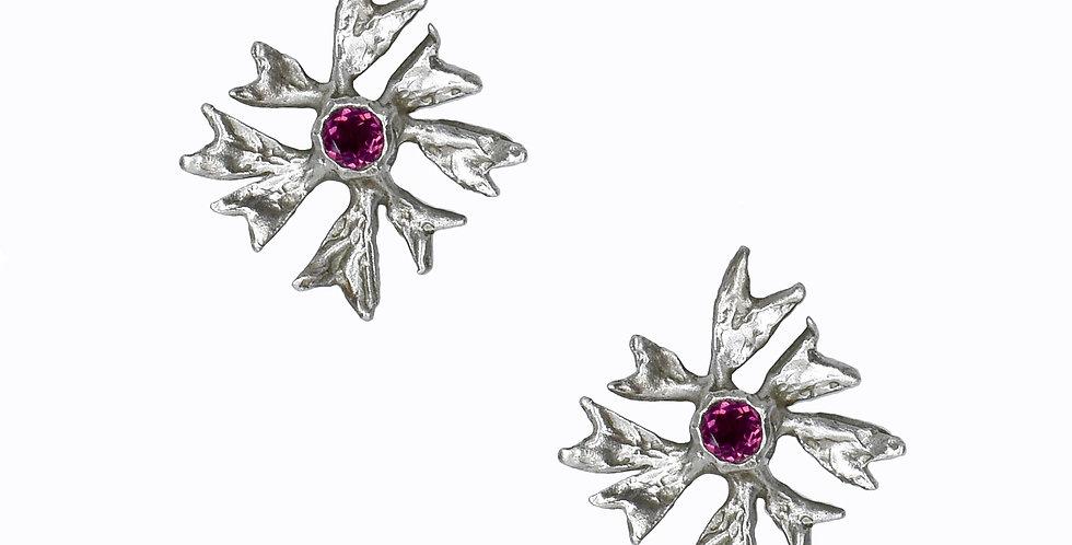 Rhodolite Garnet Silver Flower Earrings