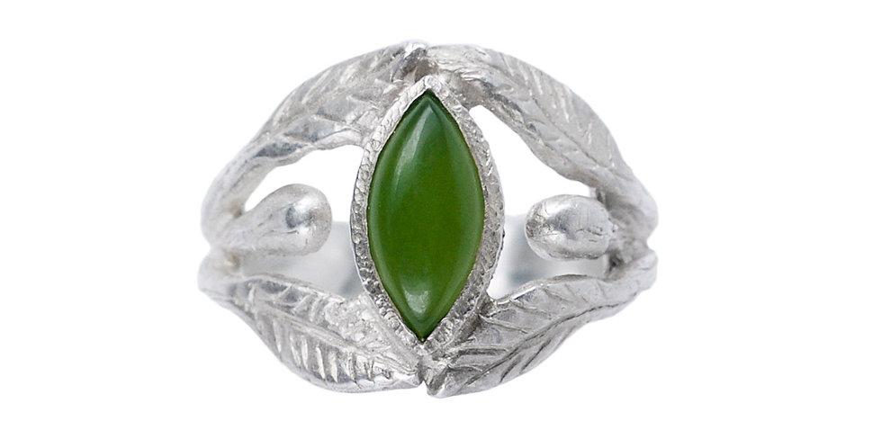 La Marquise Silver Jade Cabochon Ring