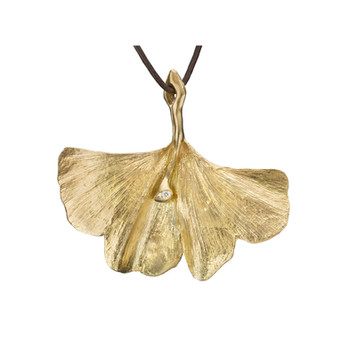 18k Ginko leaf Pendant by Lori Anne Jewelry