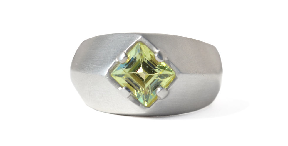 Green Chrysoberyl Architectural Ring