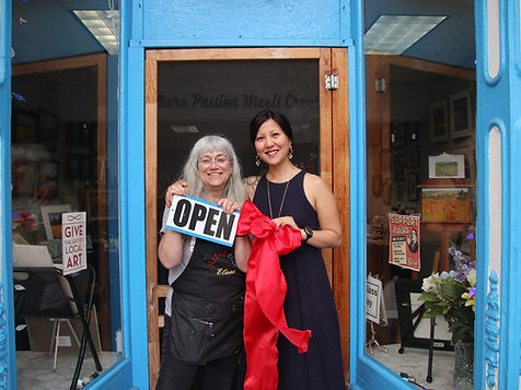 Elaine Liberio (Business Owner)and Vicky Nguyen (President), in front of Liberio Art