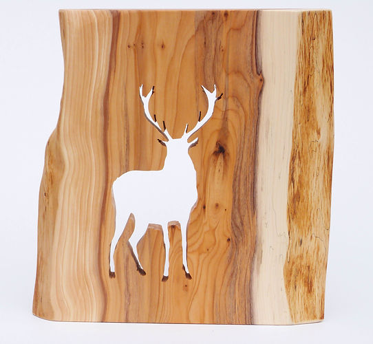 Stag silhouette handcrafted in Yew