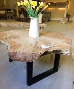 Metal leg slab top table