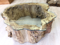 Hollow oak glass top table