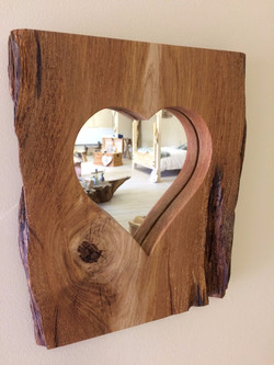 Oak heart mirror