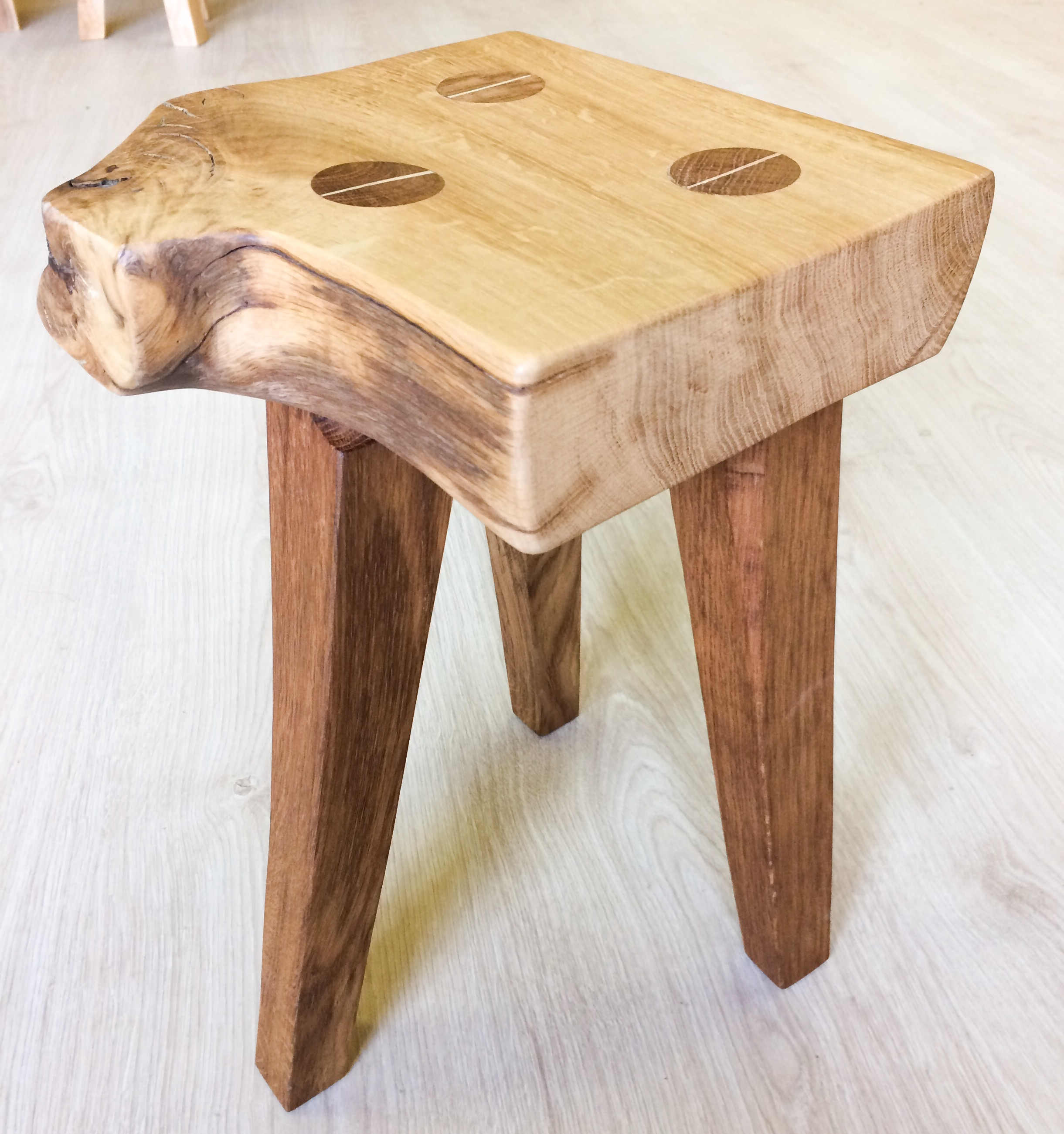 Oak tapered leg stool