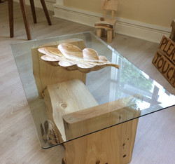 Leylandii glass top table