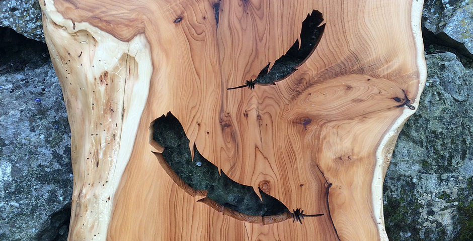 Falling Feather silhouette in Yew