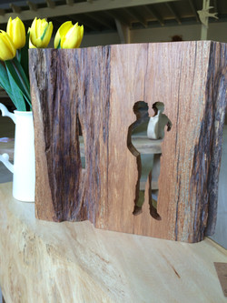 Father and Son silhouette handcrafted in Oak.
