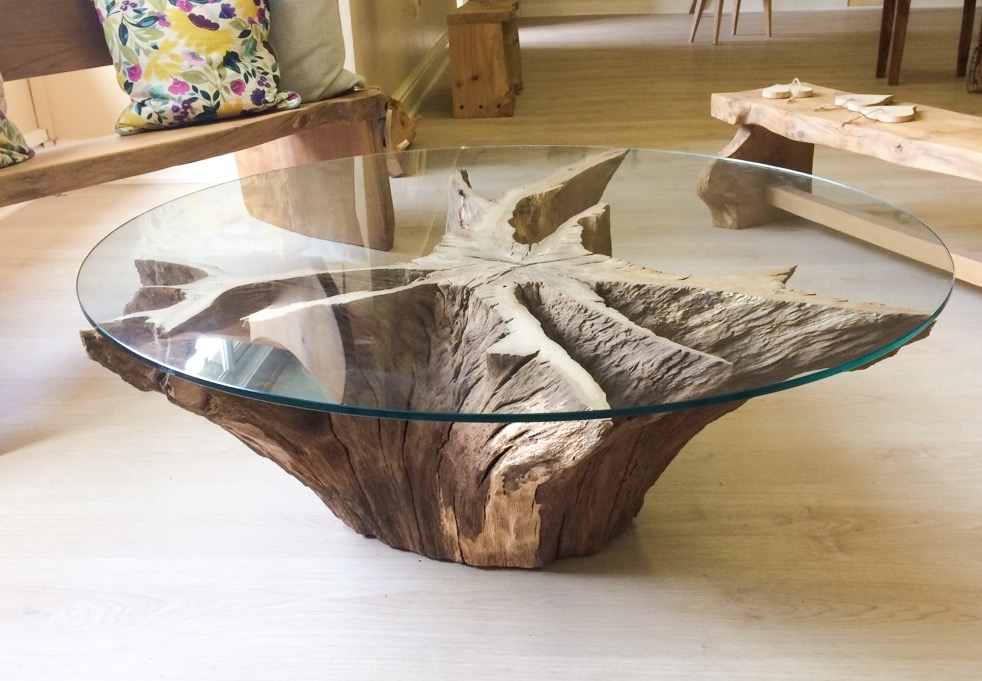 Oak root glass top table