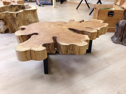 Macrocarpa ring table with metal legs