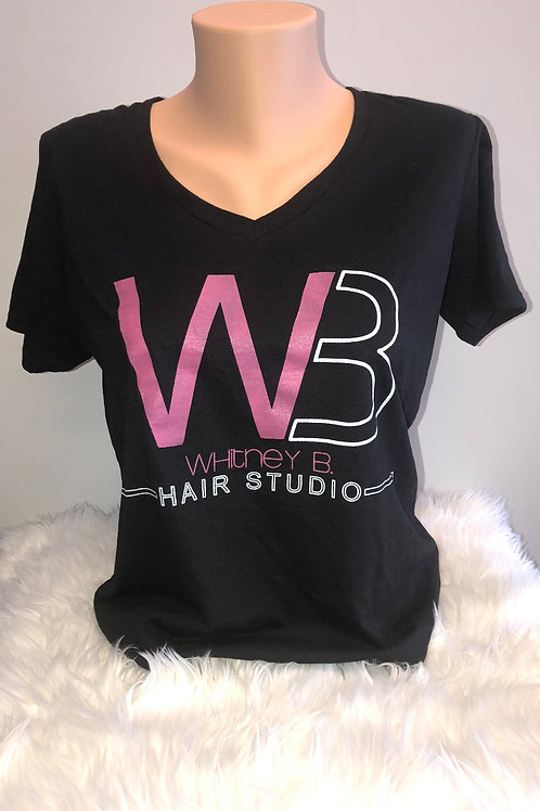 Black V-Neck Logo Tee