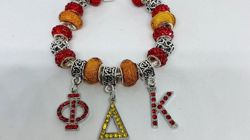 PDK Red & Gold Greek Letter Charm Bracelet