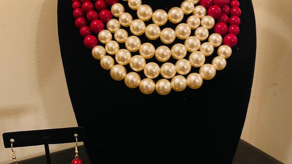 Crimson & Cream/Champagne Pearls w/Earrings
