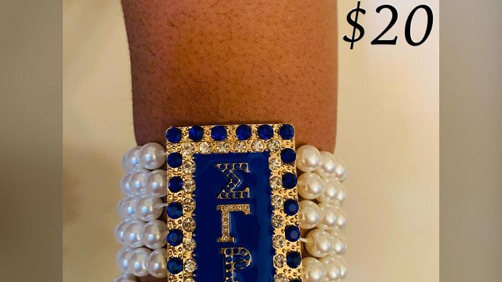 Sigma Gamma Rho Bling Greek Letter Pearl Bracelet