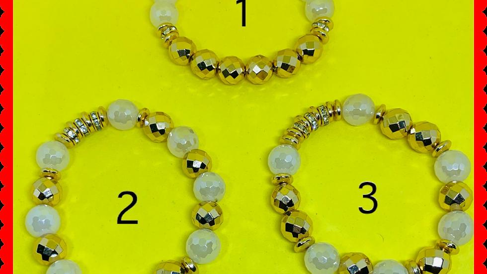 Kappa Omicron Tau Gold & White Bracelet