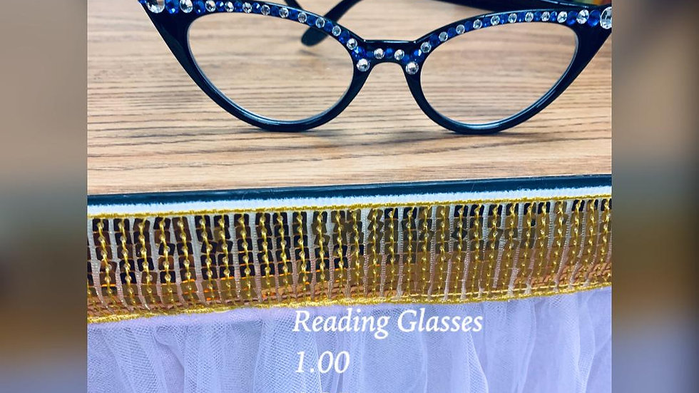 Blue with Bling Reading Glasses