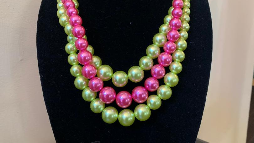 Pink & Green 3 Strand Pearls