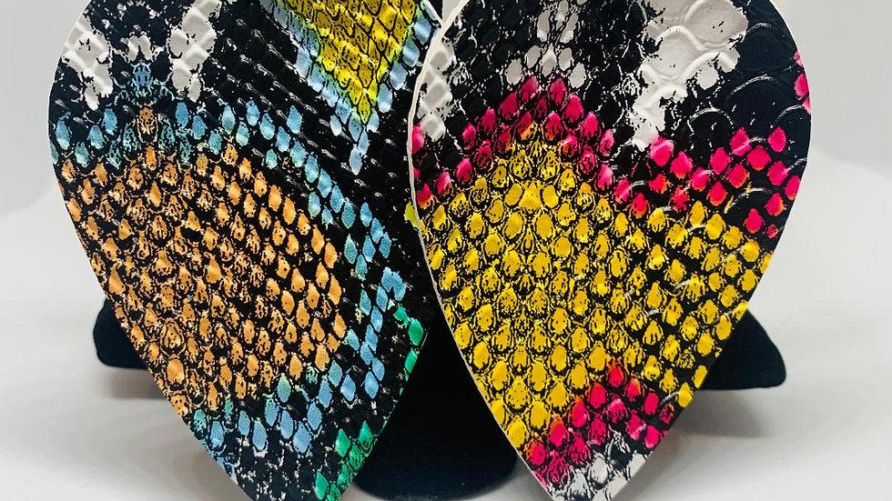 Multi Colored Snakeskin Earrings