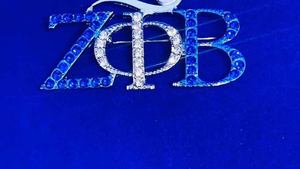Zeta Phi Beta Dove Greek Letter Bling Pin