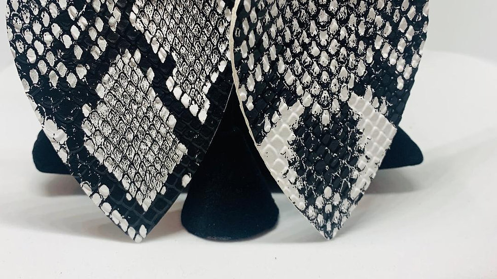 Gray & Black Snakeskin (FTHR) Earrings