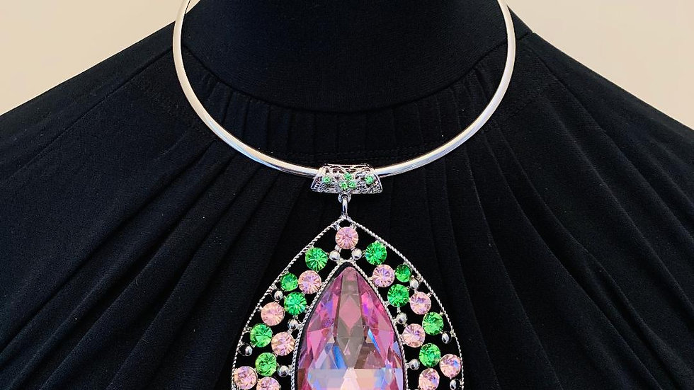 Pink & Green Bling Necklace