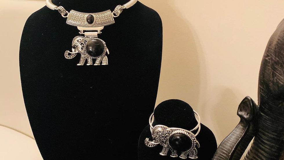 Elephant Bracelet & Earrings Set