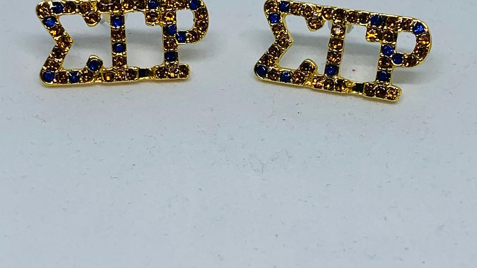 SGRho Gold & Blue Bling Greek Letter Earrings
