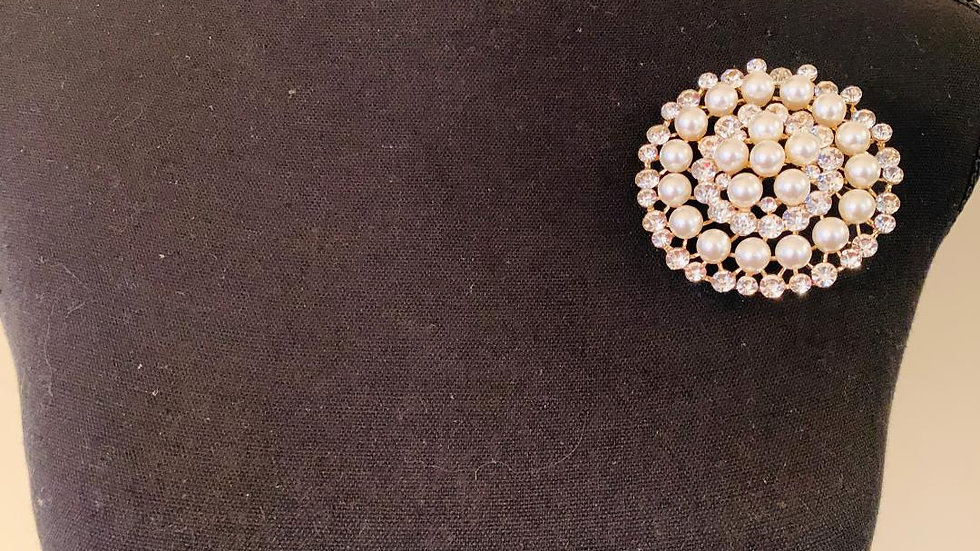 Pearl & Bling Pearl Brooch