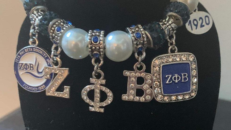 Zeta Phi Beta Pearl Charm Bracelet