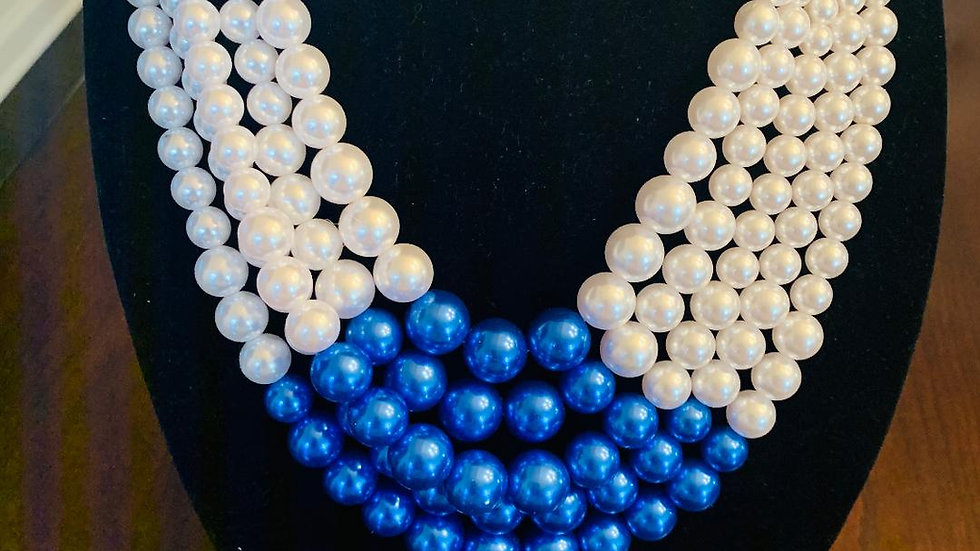 Blue & White Pearl Necklace w/Matching Earrings