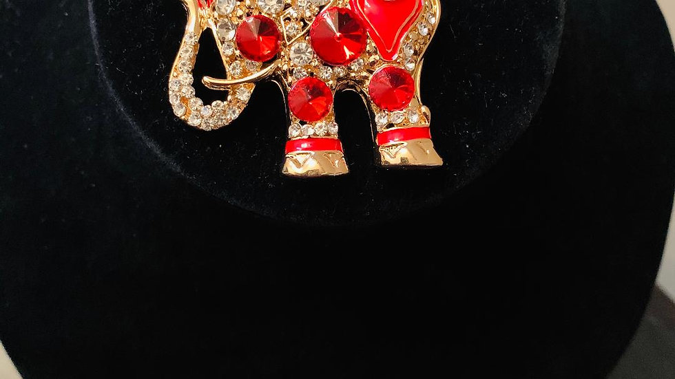 Red & Gold Bling Elephant Keychain