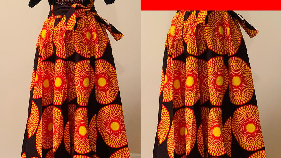 Red & Gold African Skirt