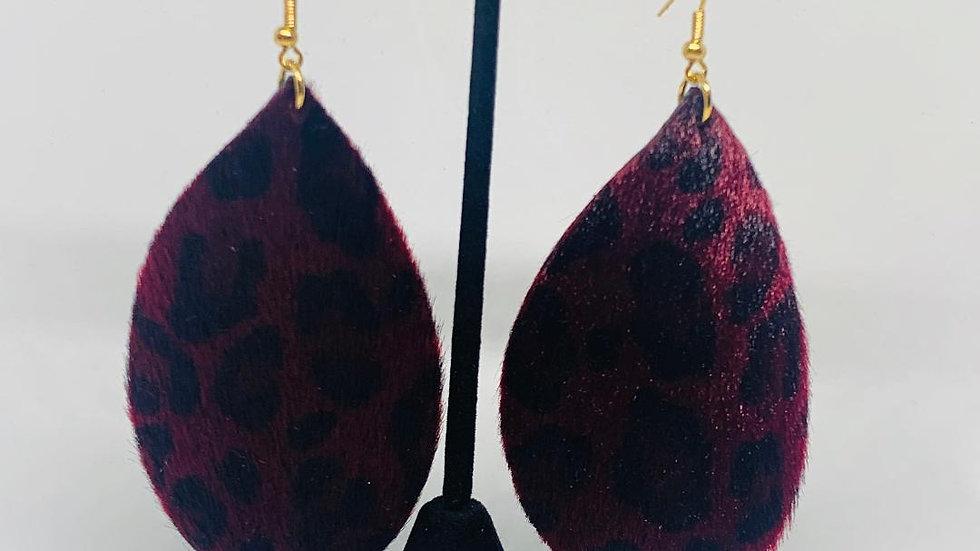 Burgundy Leopard Print Earrings