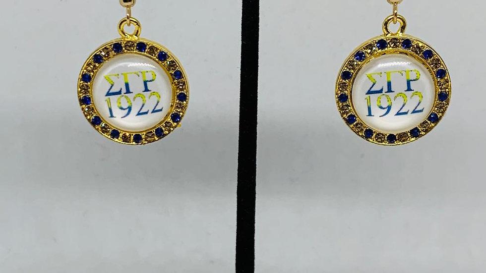Sigma Gamma Rho Bling Round Earrings