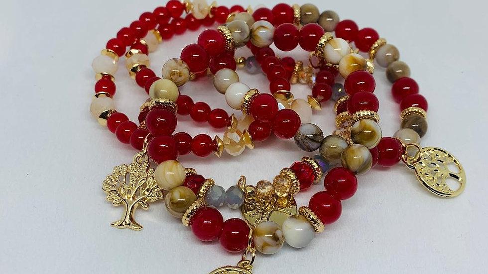 Red & Gold Bracelets (4)