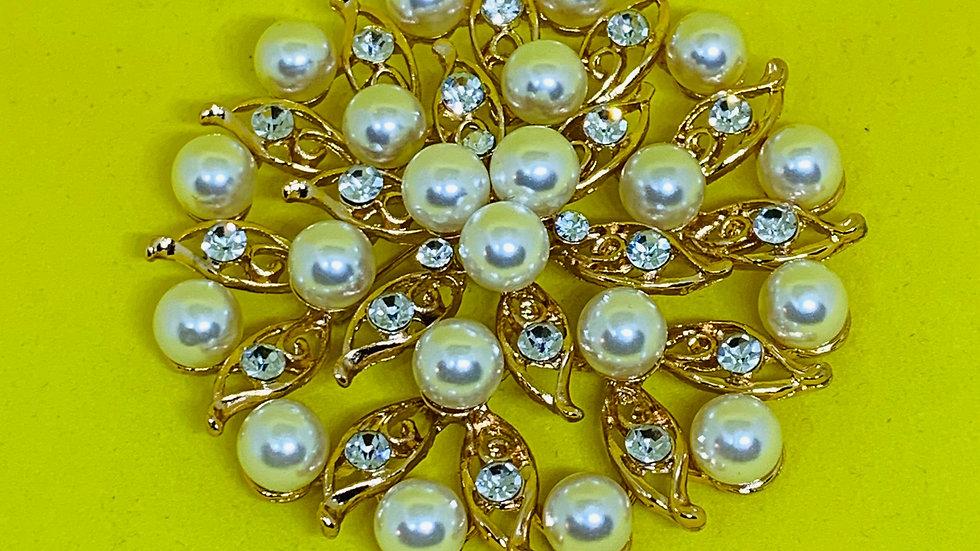 Deep Gold Pearls & Flower Bling Brooch