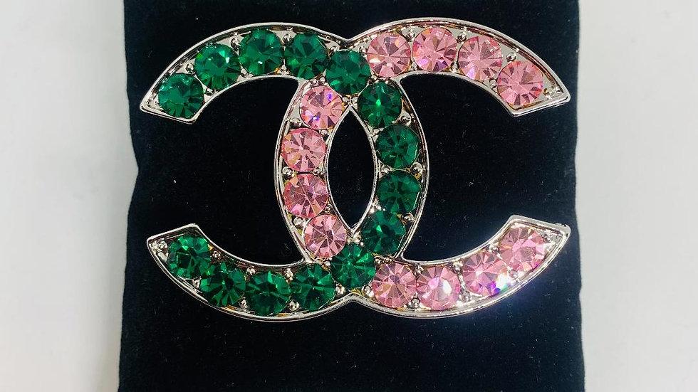 Pink & Green Chanel Inspired Brooch