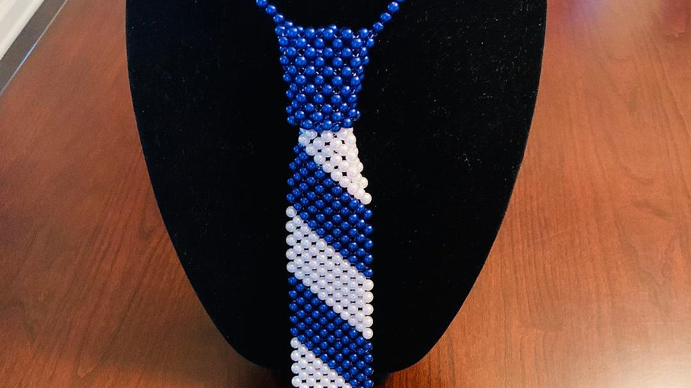 Pearl Necktie Necklace with Blue Pearl Earrings