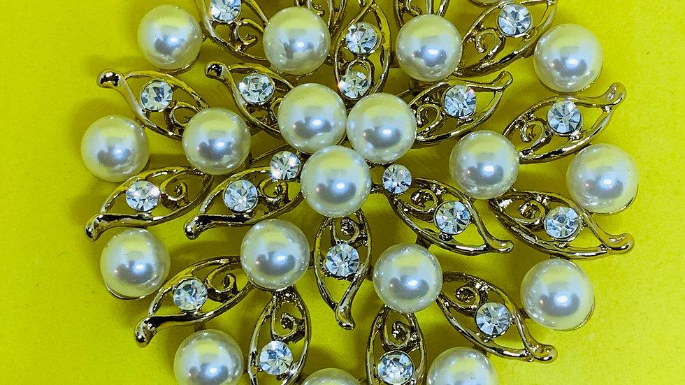 Light Gold Pearls & Flower Bling Brooch