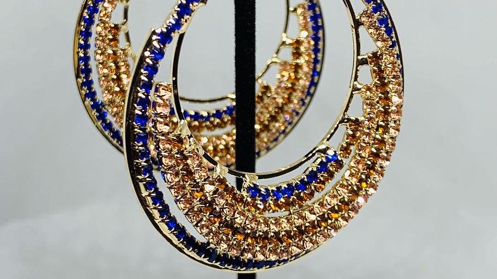 Blue & Gold Bling Circular Earrings