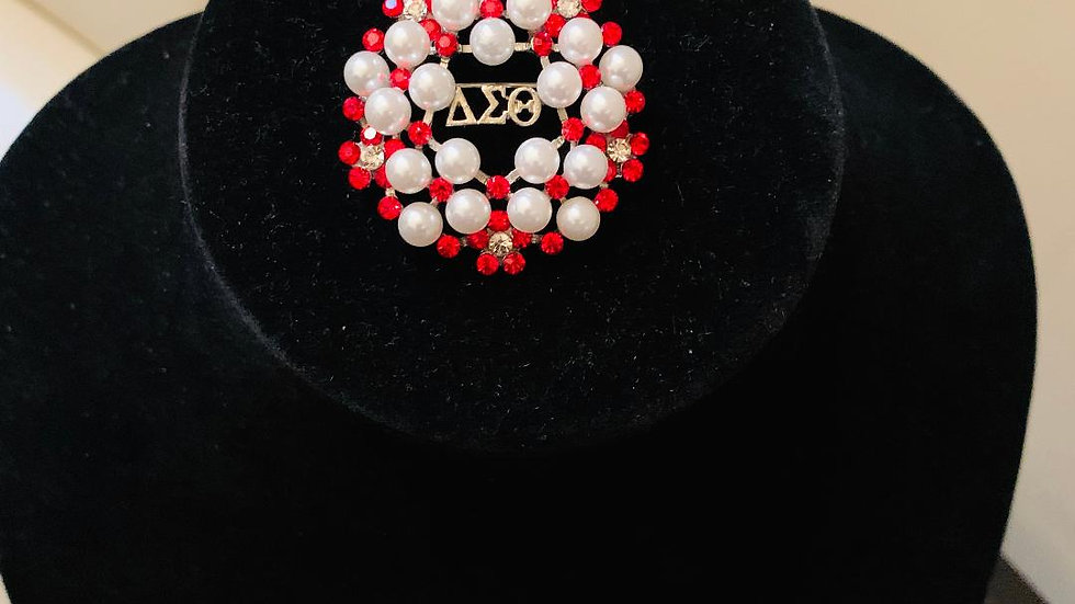 DST Greek Pearl (Red) Bling Brooch