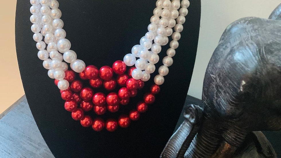 Red & White Pearl Necklace w/Matching Earrings