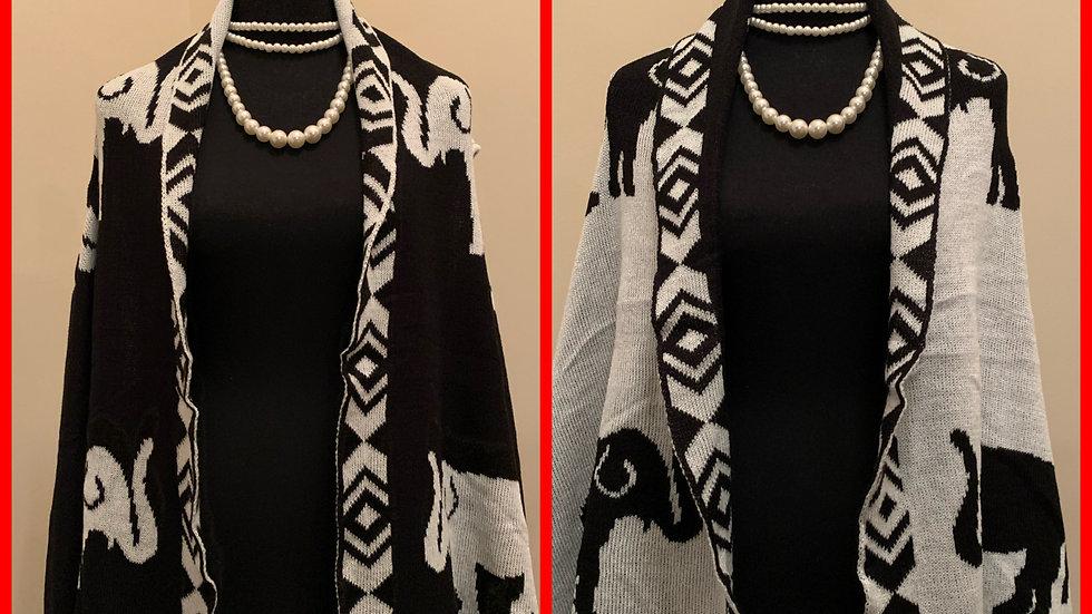 Elephant Reversible Sweater Vest (Black)