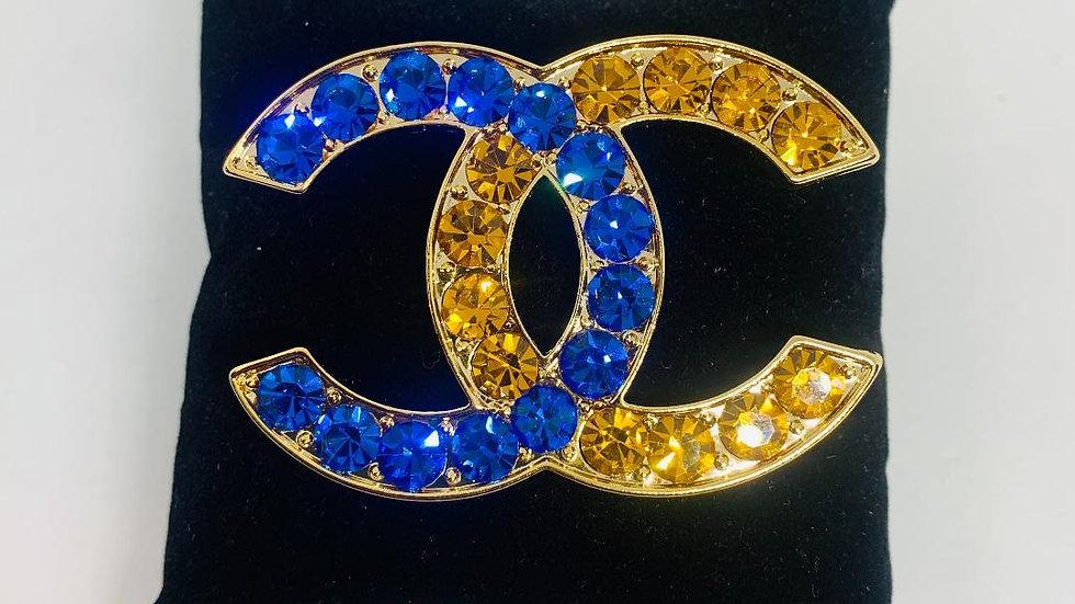 Blue & Gold Bling Chanel Inspired Brooch