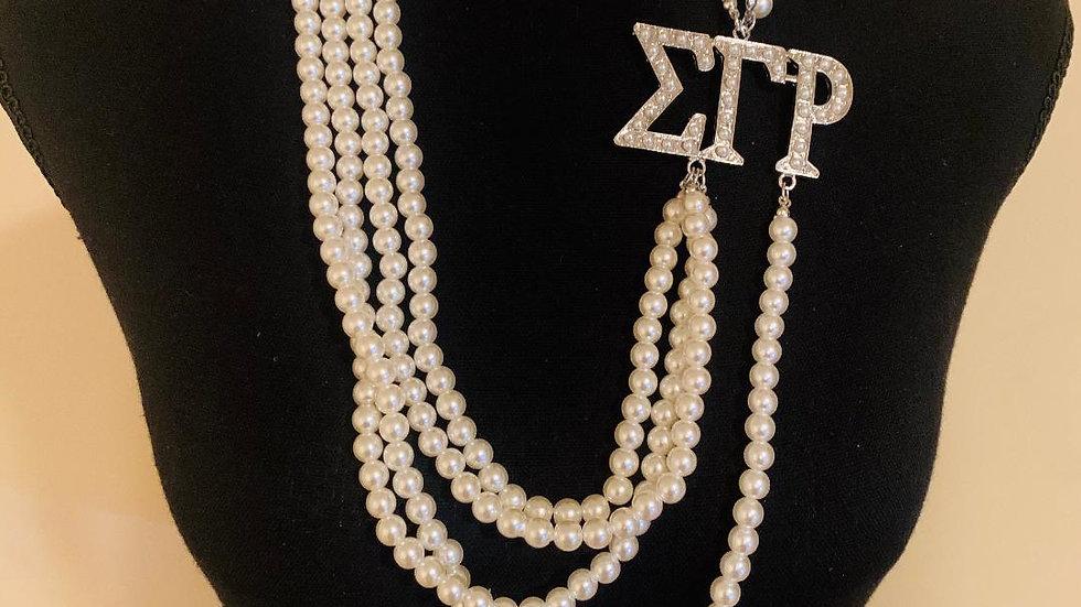 SGRho Greek Letter 4 Strand Pearl Necklace