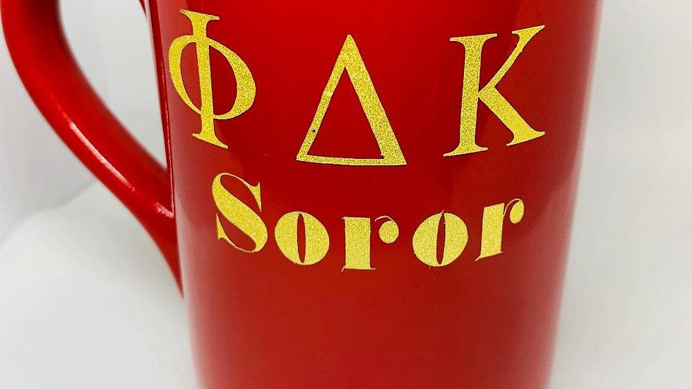 Phi Delta Kappa Red Soror Mug