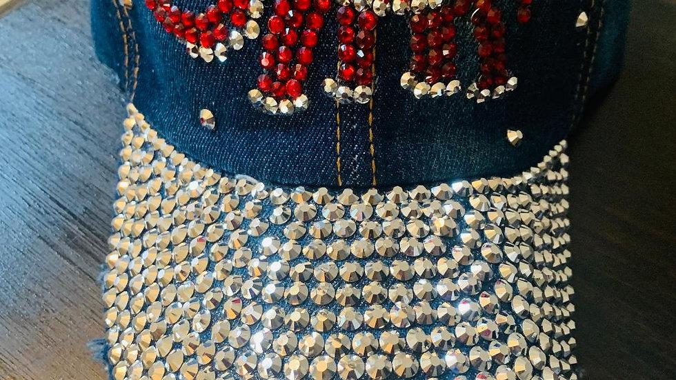 Elephant Bling Hat in Blue Denim