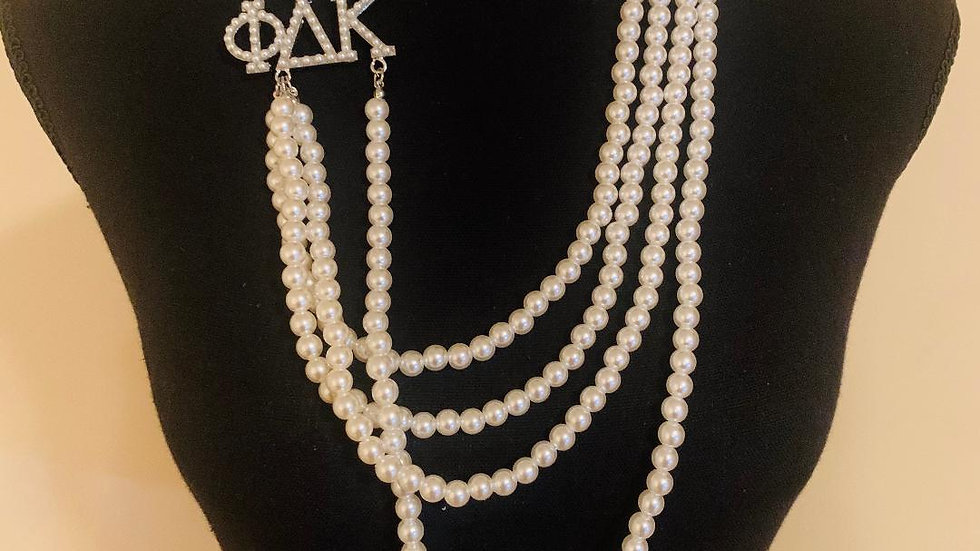 PDK Greek Letter 4 Strand Pearl Necklace