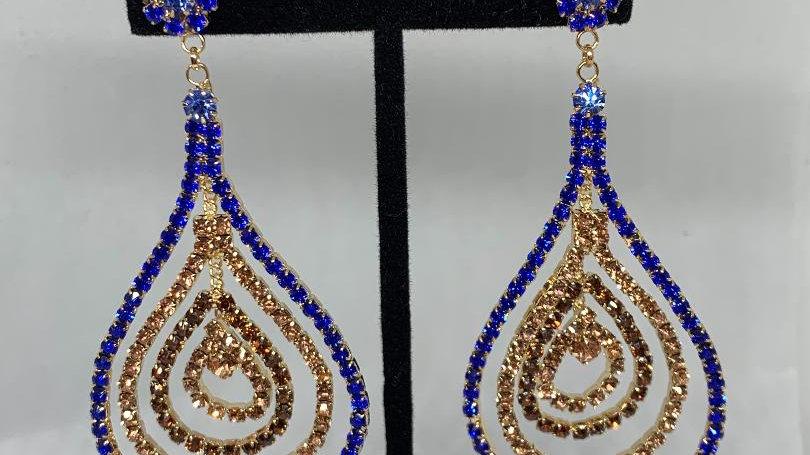 Blue & Gold Bling Teardrop Earrings